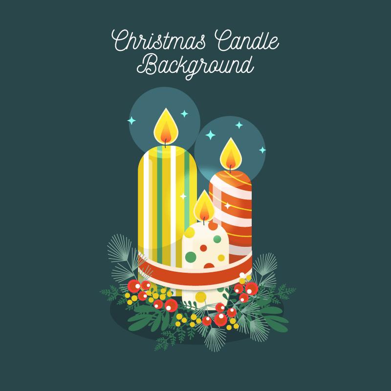 创意圣诞节蜡烛矢量素材(EPS/AI/免扣PNG)