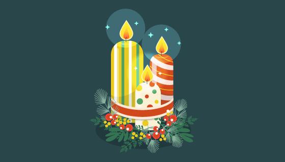 创意圣诞节蜡烛矢量素材(EPS/AI/PNG)