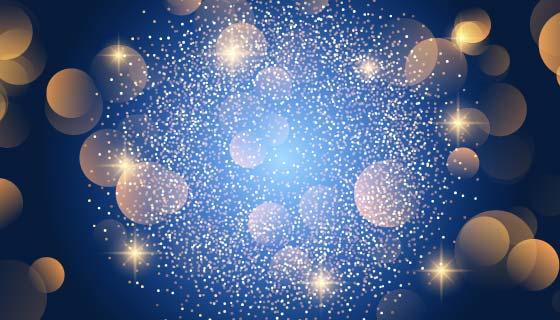 圣诞节蓝色散景灯光背景矢量素材(EPS)