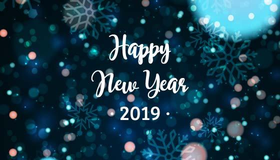 蓝色模糊2019新年快乐背景矢量素材(EPS/AI)