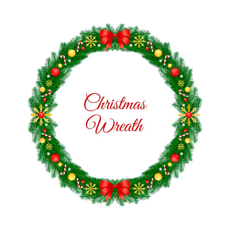 创意圣诞节花环矢量素材(EPS/AI/免扣PNG)