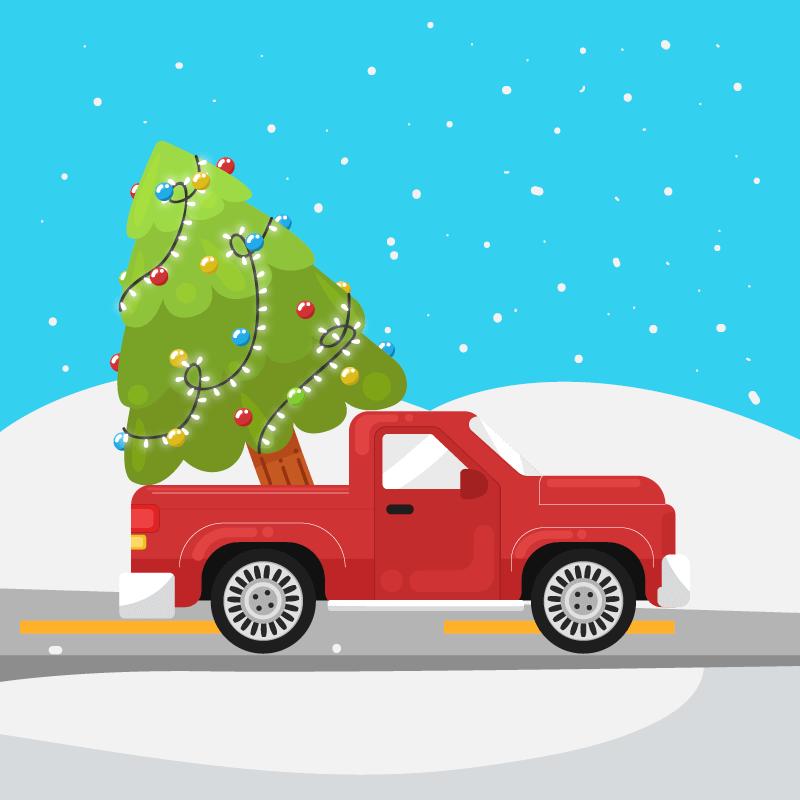 装着圣诞树的皮卡车矢量素材(EPS/AI)