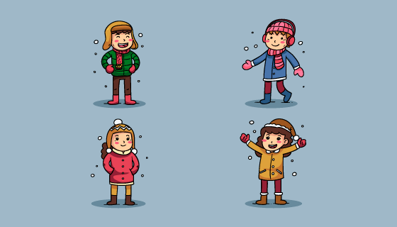 冬天里的小孩矢量素材(EPS/AI/PNG)