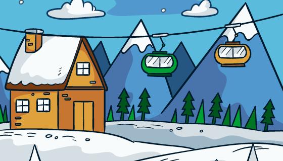 手绘滑雪站背景矢量素材(EPS/AI)