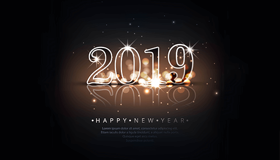 创意2019新年快乐背景矢量素材(EPS)