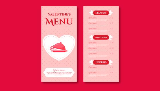 情人节菜单模板矢量素材(EPS/AI)