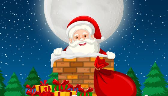 爬烟囱的圣诞老人矢量素材(EPS)