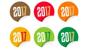 9个彩色2017圆形贴纸矢量素材(AI)