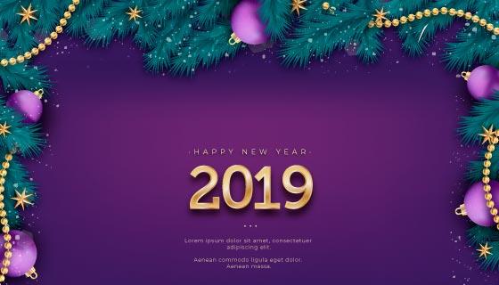 紫色2019新年快乐背景矢量素材(EPS/AI)
