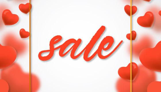 红色爱心情人节促销背景矢量素材(EPS)