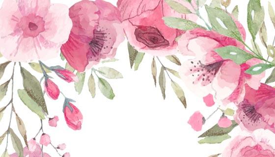 可爱的花卉婚礼请柬矢量素材(EPS)