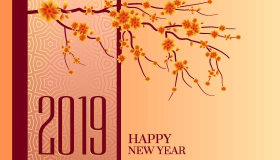 2019新年快乐背景矢量素材(EPS)