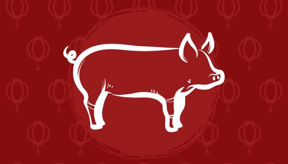 2019猪年新年快乐背景矢量素材(EPS/AI)