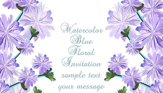 蓝色花卉卡片模板免费矢量素材(EPS)