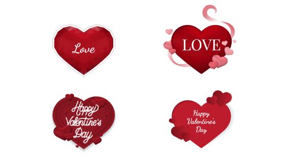 红色爱心情人节背景矢量素材(EPS)