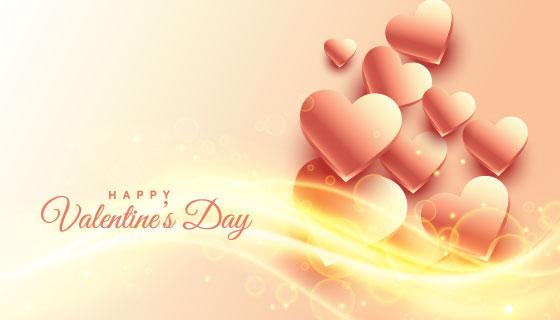 闪亮美丽的爱心情人节背景矢量素材(EPS)