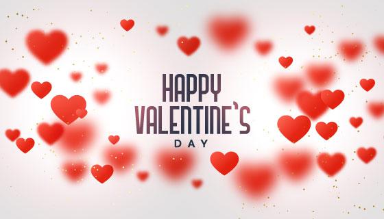 红色爱心情人节快乐背景矢量素材(EPS)