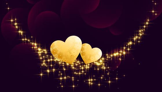 金色爱心情人节快乐背景矢量素材(EPS)
