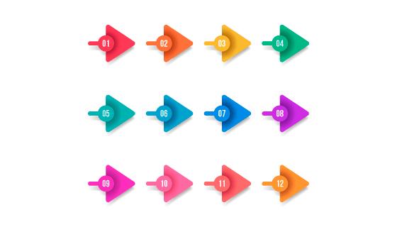 扁平箭头项目符号矢量素材(EPS/AI/免扣PNG)