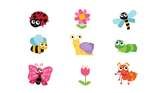 可爱的昆虫花卉矢量素材(EPS/PNG)