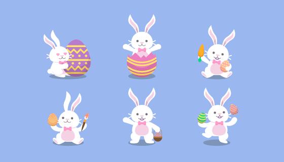 扁平风格复活节兔子矢量素材(EPS/AI/PNG)