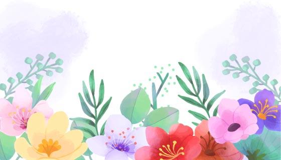 手绘多彩花卉背景矢量素材(EPS/AI)