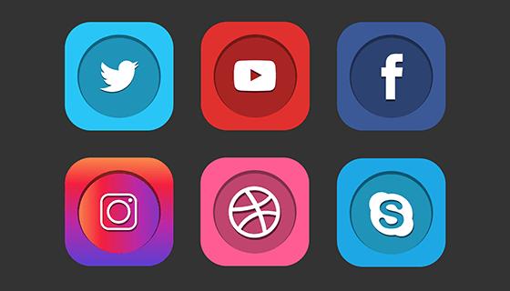 9个社会化彩色图标矢量素材(EPS)