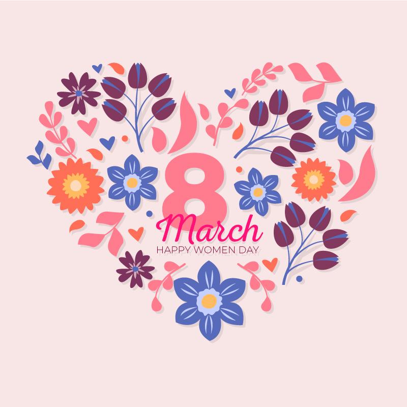 花卉爱心妇女节/女王节背景矢量素材(EPS/AI/免扣PNG)