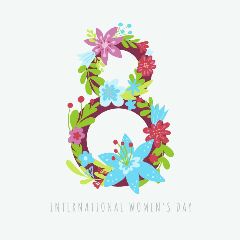 漂亮花卉数字8妇女节/女王节矢量素材(EPS/AI)