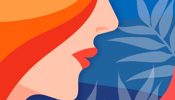 女生侧脸设计妇女节/女王节背景矢量素材(EPS/AI)