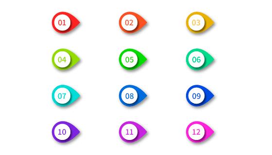 3D多彩项目符号矢量素材(EPS/AI/PNG)