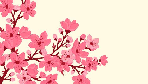 手绘漂亮樱花背景矢量素材(EPS/AI/PNG)