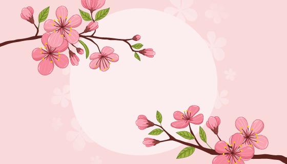 手绘漂亮樱花矢量素材(EPS/AI)