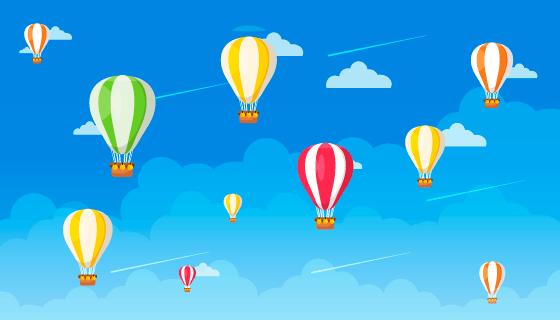 蓝天热气球设计旅行背景矢量素材(EPS/AI)
