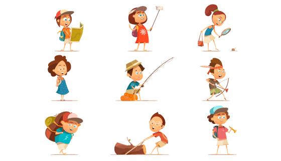 卡通风格露营的儿童矢量素材(EPS/PNG)