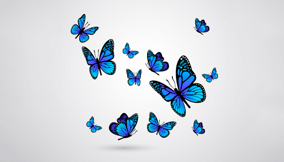 逼真漂亮的蓝色蝴蝶矢量素材(EPS/AI/PNG)