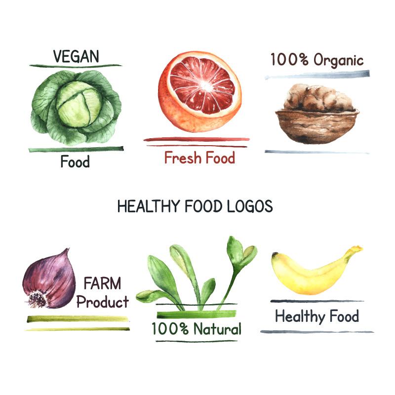 水彩风格有机食物矢量素材(EPS/AI/免扣PNG)