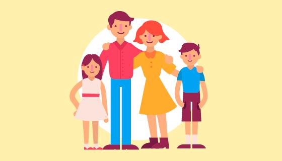 扁平风格家庭肖像矢量素材(EPS/AI/PNG)