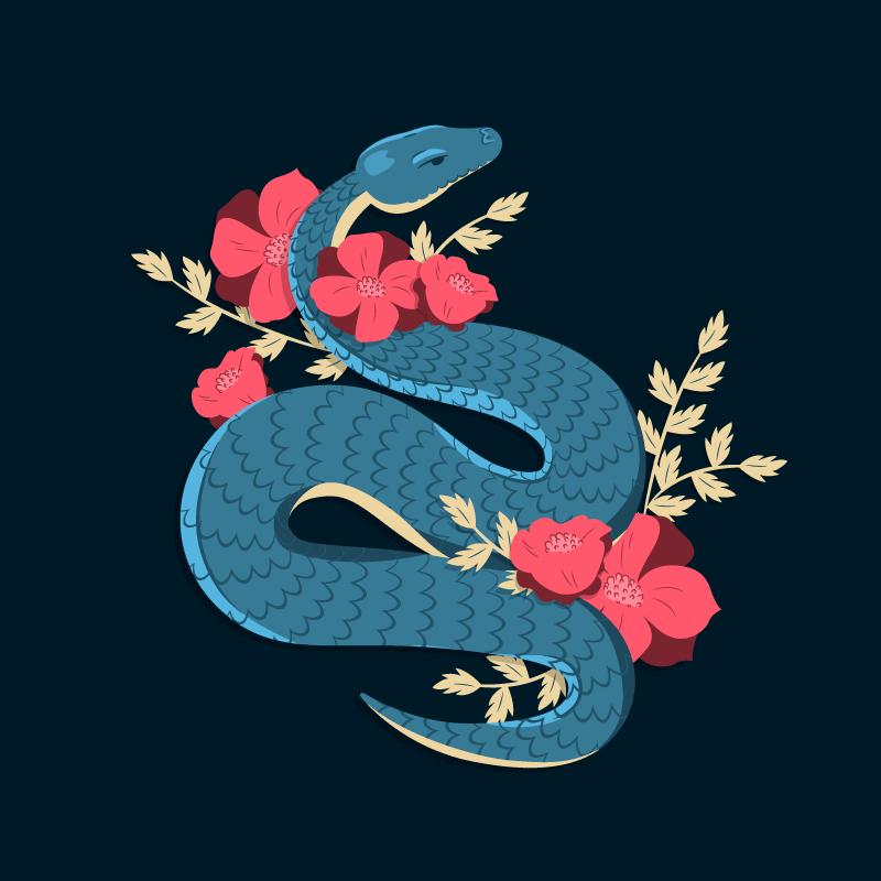手绘蛇和花朵矢量素材(EPS/AI/免扣PNG)