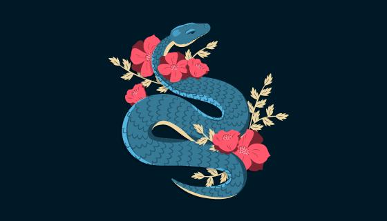 手绘蛇和花朵矢量素材(EPS/AI/PNG)