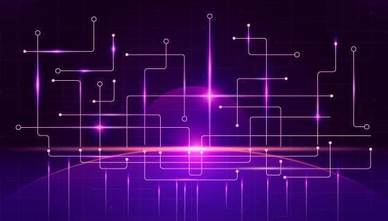 抽象紫色科技背景矢量素材(EPS/AI)