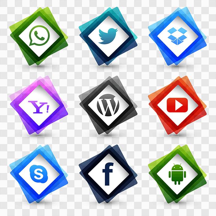 9个菱形社会化图标矢量素材(EPS)