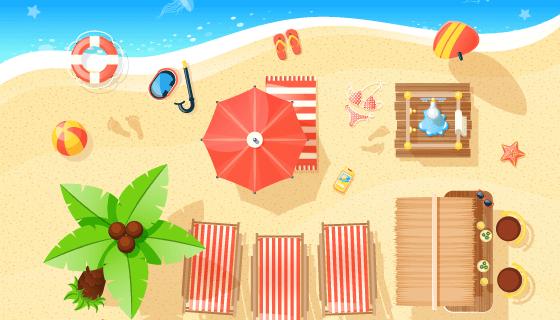 夏季海滩景观矢量素材(EPS)