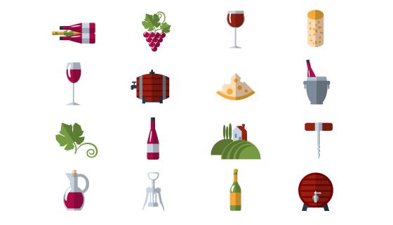 扁平葡萄酒元素图标矢量素材(EPS/PNG)