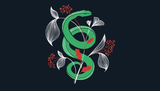扁平风格蛇与叶子矢量素材(EPS/AI/PNG)