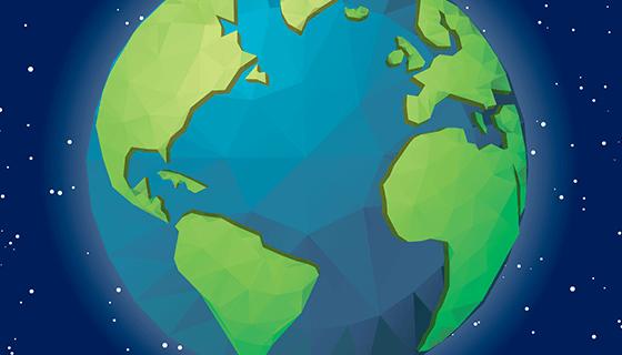 蓝色背景几何地球矢量素材(EPS/AI)