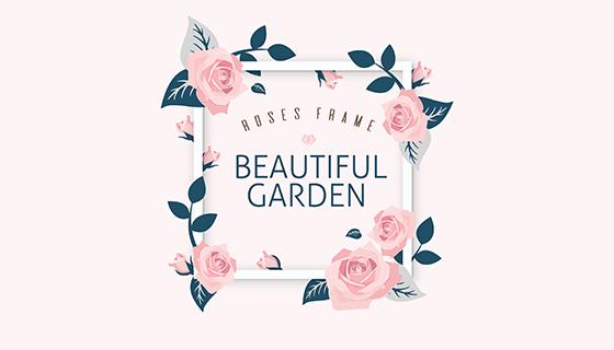 美丽的玫瑰装饰背景框矢量素材(EPS/AI)