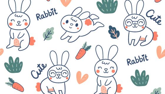 可爱涂鸦兔子图案矢量素材(EPS/AI)