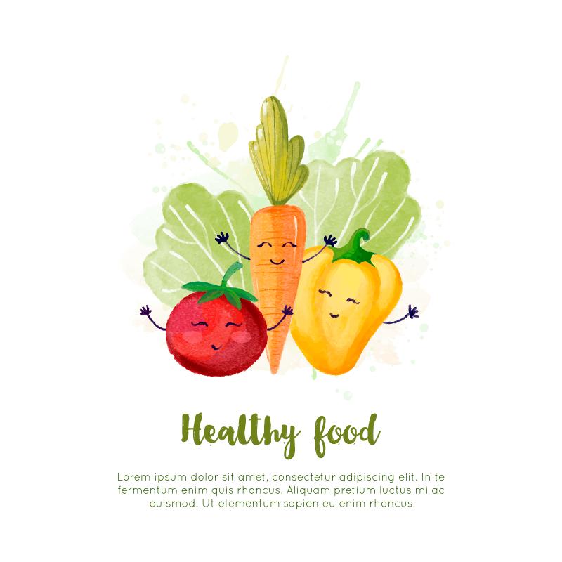 可爱的健康食物矢量素材(EPS/AI)