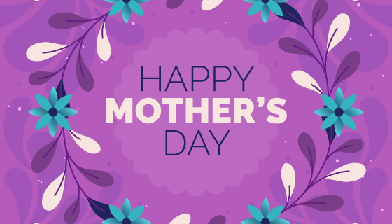 紫色花卉母亲节背景矢量素材(EPS/AI)